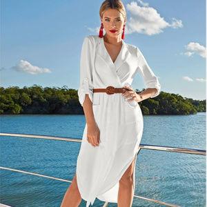 Venus Midi Shirt Dress  White  Size M